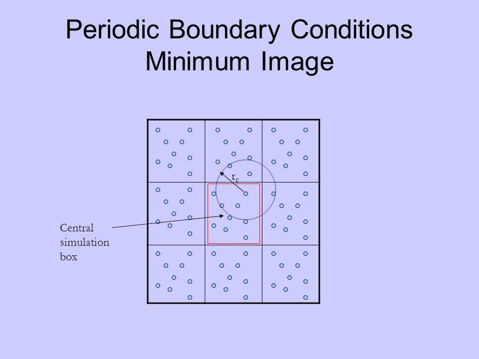 Periodic Boundary Conditions Minimum Image Central simulation box rcrc
