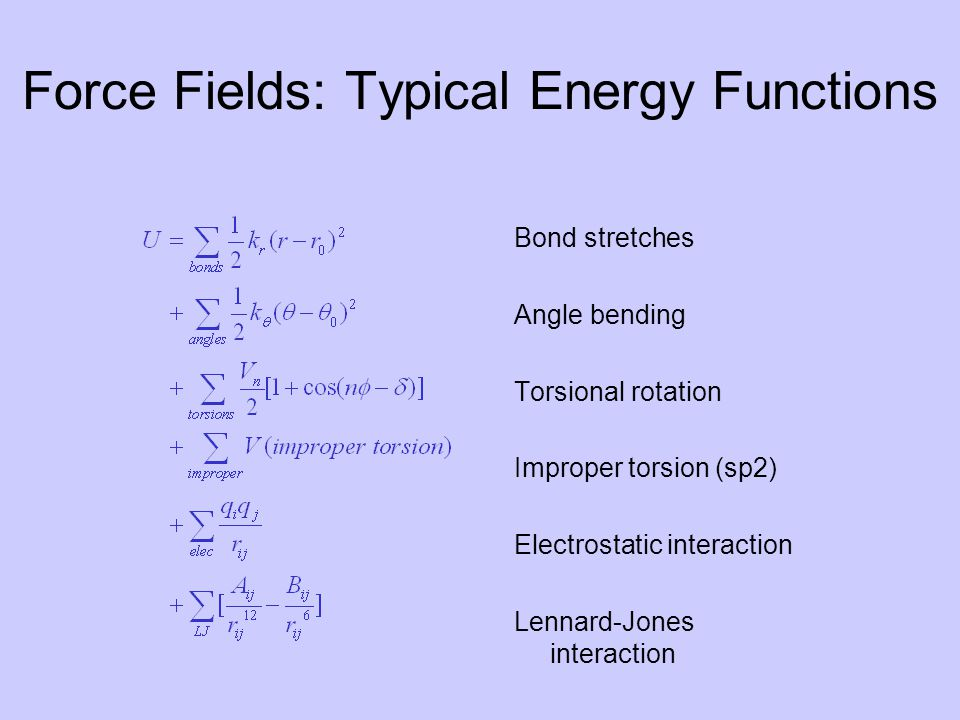 Force Fields: Typical Energy Functions Bond stretches Angle bending Torsional rotation Improper torsion (sp2) Electrostatic interaction Lennard-Jones interaction