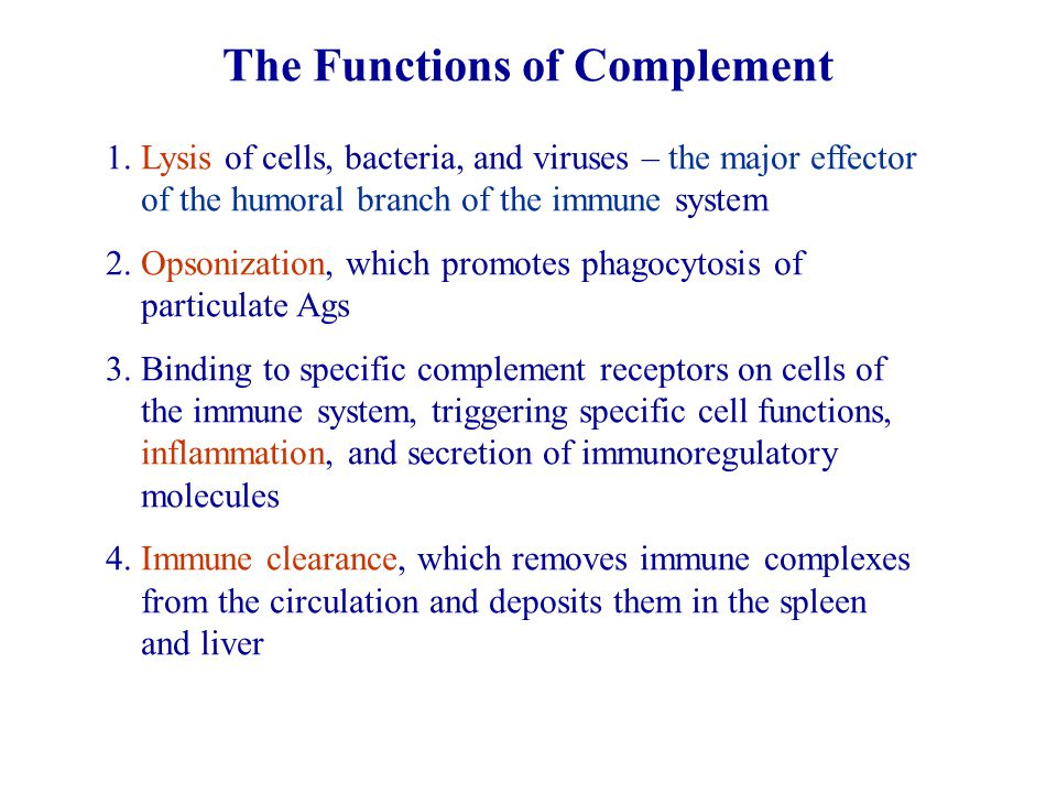 The Functions of Complement 1.