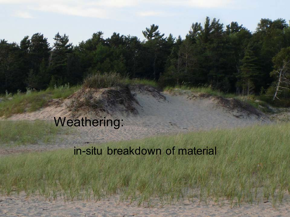 Weathering: in-situ breakdown of material
