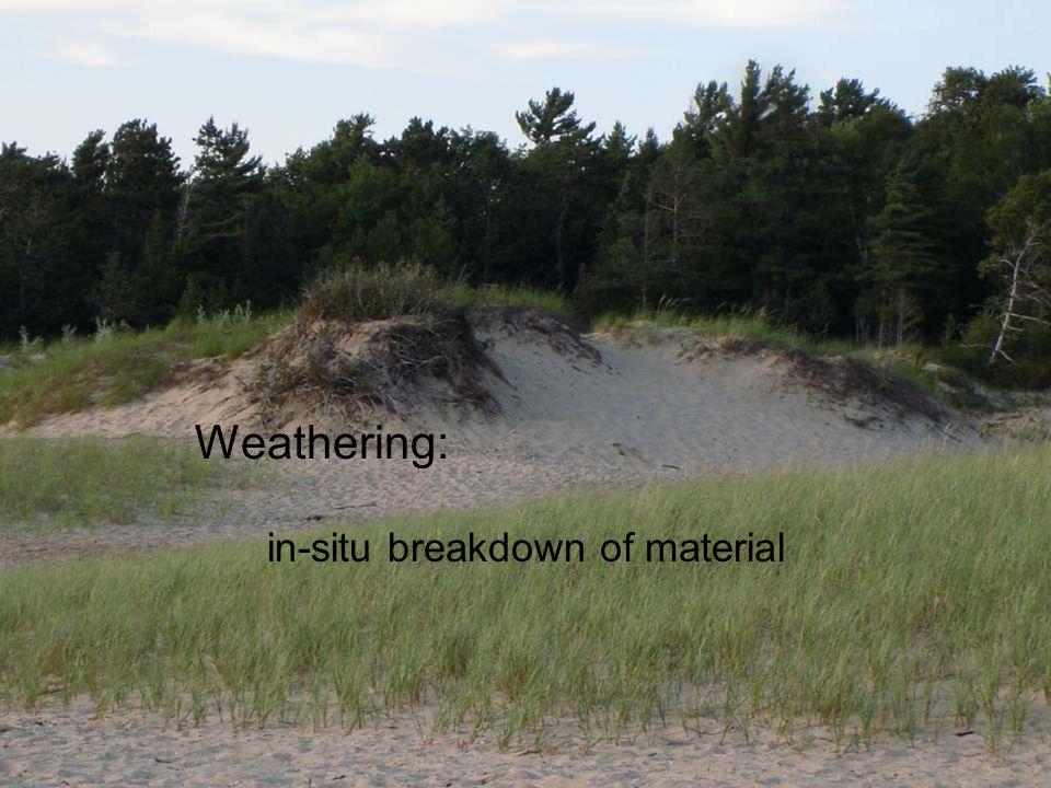 Weathering: in-situ breakdown of material physical (or mechanical) weathering chemical weathering resistance to weathering function of: –internal resistance of material –magnitude of external forces