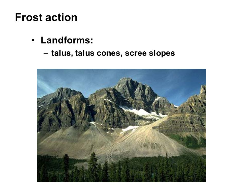 Frost action Landforms: –talus, talus cones, scree slopes