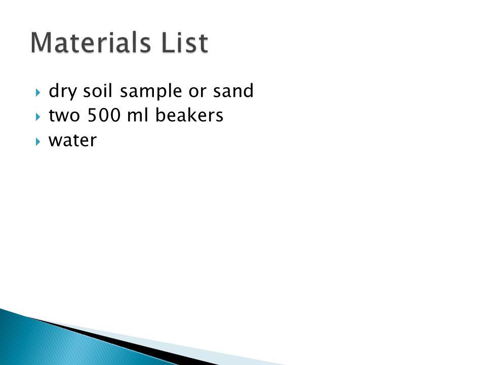  dry soil sample or sand  two 500 ml beakers  water