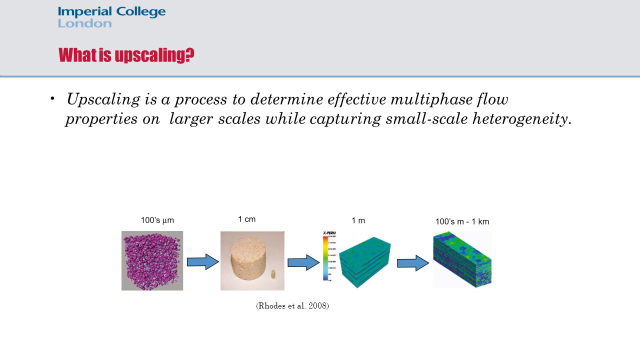 What is upscaling? Upscaling is a process to determine effective multiphase flow properties on larger scales while capturing small-scale heterogeneity