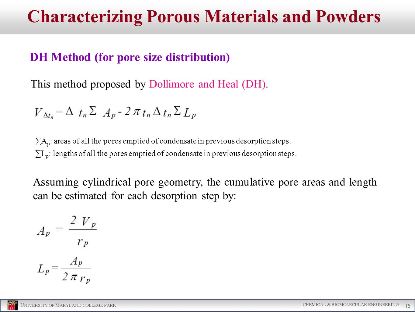 Characterizing Porous Materials and Powders DH Method (for pore size distribution) 15 This method proposed by Dollimore and Heal (DH).