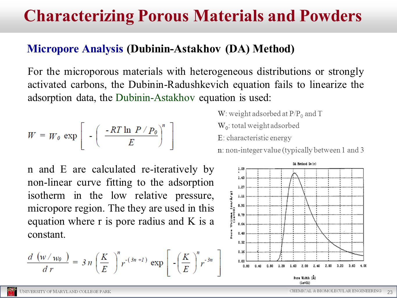 Characterizing Porous Materials and Powders Micropore Analysis (Dubinin-Astakhov (DA) Method) 23 For the microporous materials with heterogeneous distributions or strongly activated carbons, the Dubinin-Radushkevich equation fails to linearize the adsorption data, the Dubinin-Astakhov equation is used: n and E are calculated re-iteratively by non-linear curve fitting to the adsorption isotherm in the low relative pressure, micropore region.