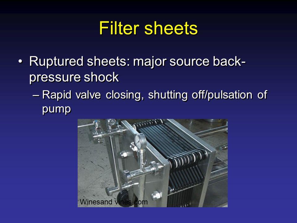 Filter sheets Ruptured sheets: major source back- pressure shock –Rapid valve closing, shutting off/pulsation of pump Ruptured sheets: major source ba