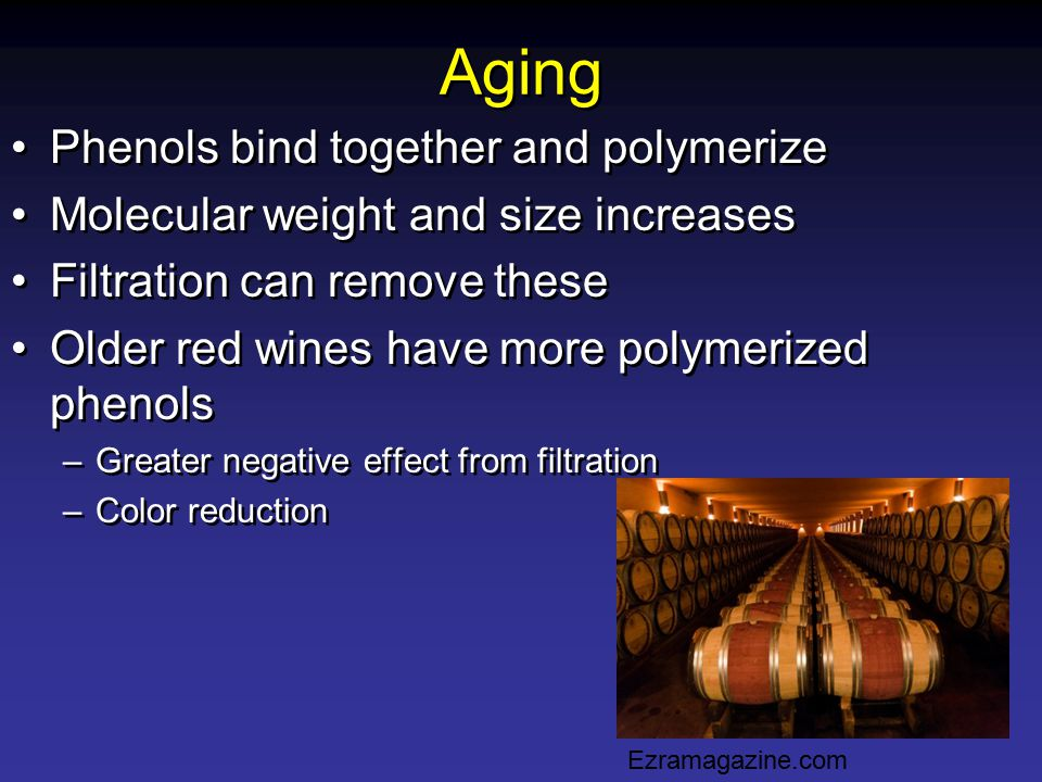 Aging Phenols bind together and polymerize Molecular weight and size increases Filtration can remove these Older red wines have more polymerized pheno
