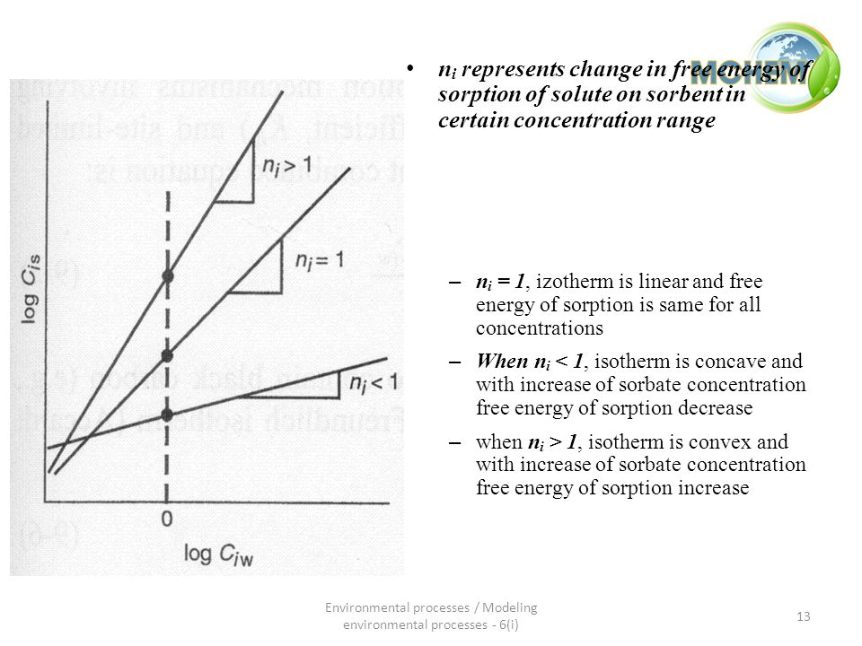 n i represents change in free energy of sorption of solute on sorbent in certain concentration range – n i = 1, izotherm is linear and free energy of sorption is same for all concentrations – When n i < 1, isotherm is concave and with increase of sorbate concentration free energy of sorption decrease – when n i > 1, isotherm is convex and with increase of sorbate concentration free energy of sorption increase 13 Environmental processes / Modeling environmental processes - 6(i)