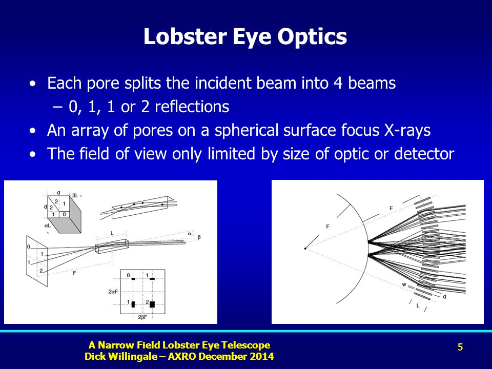 A Narrow Field Lobster Eye Telescope Dick Willingale – AXRO December 2014 Lobster Eye Optics Each pore splits the incident beam into 4 beams –0, 1, 1 or 2 reflections An array of pores on a spherical surface focus X-rays The field of view only limited by size of optic or detector 5