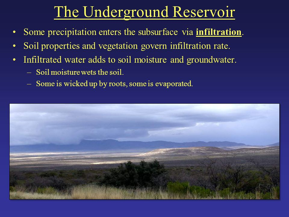 The Underground Reservoir Some precipitation enters the subsurface via infiltration.Some precipitation enters the subsurface via infiltration. Soil pr