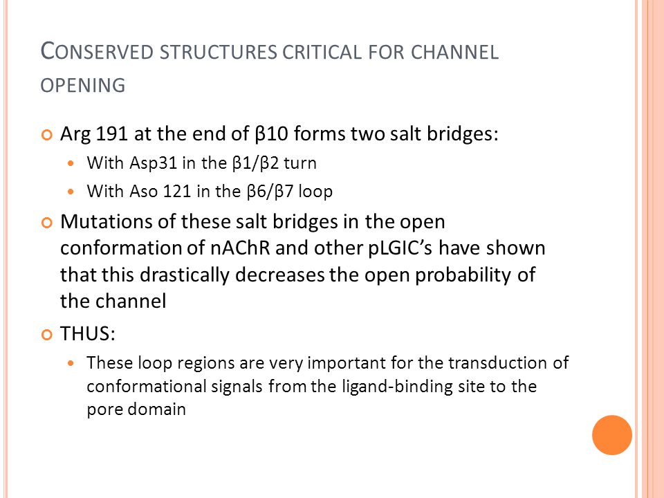 C ONSERVED STRUCTURES CRITICAL FOR CHANNEL OPENING Arg 191 at the end of β10 forms two salt bridges: With Asp31 in the β1/β2 turn With Aso 121 in the β6/β7 loop Mutations of these salt bridges in the open conformation of nAChR and other pLGIC's have shown that this drastically decreases the open probability of the channel THUS: These loop regions are very important for the transduction of conformational signals from the ligand-binding site to the pore domain