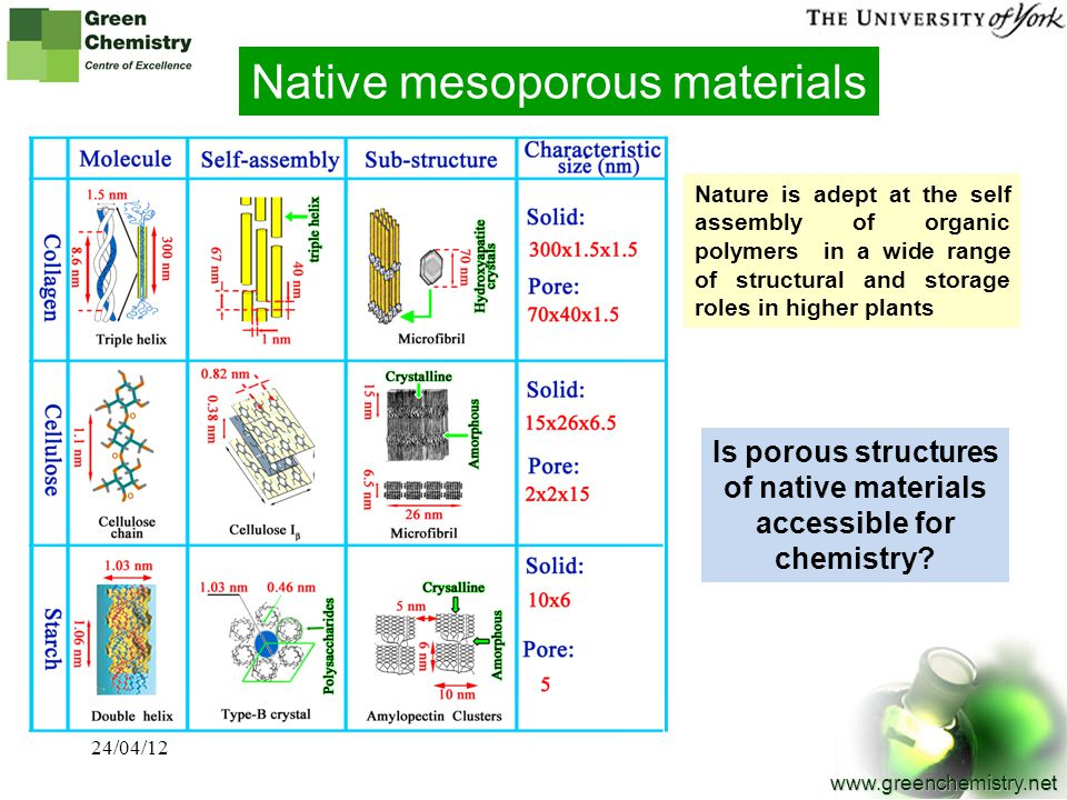 6 www.greenchemistry.net Native mesoporous materials Nature is adept at the self assembly of organic polymers in a wide range of structural and storag