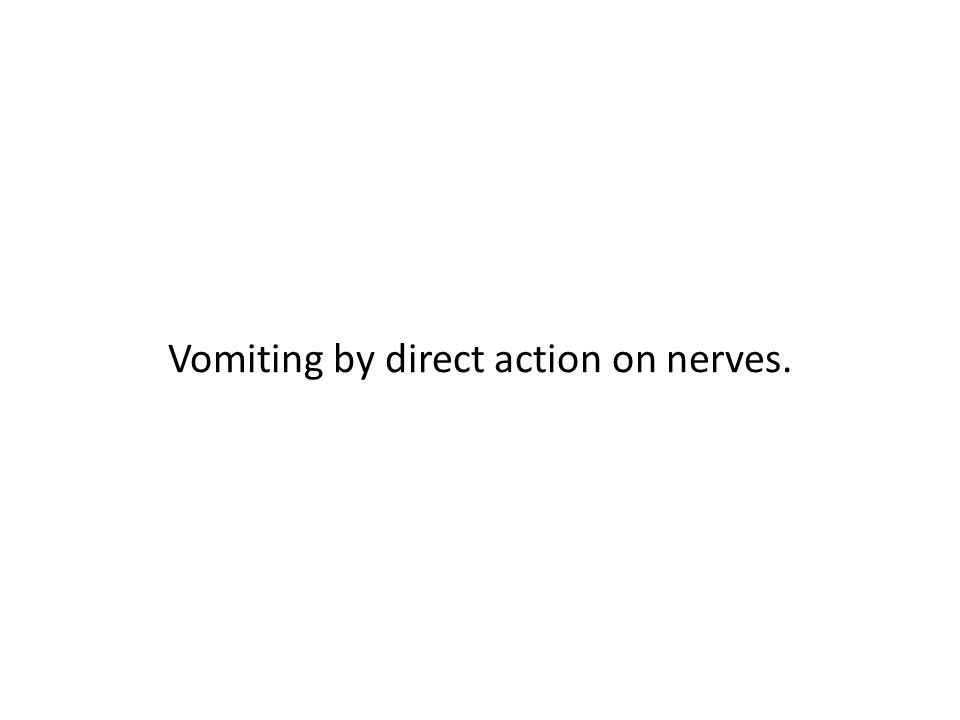 Vomiting by direct action on nerves.