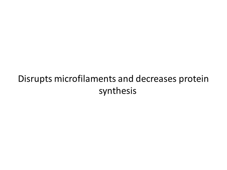 Disrupts microfilaments and decreases protein synthesis
