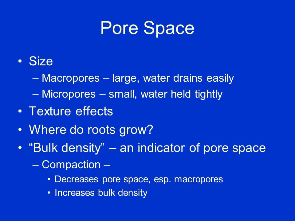 Pore Space Size –Macropores – large, water drains easily –Micropores – small, water held tightly Continuity – Water drains better if soil texture is consistent and continuous
