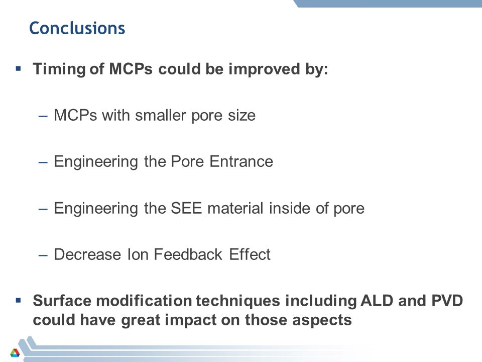 Conclusions  Timing of MCPs could be improved by: –MCPs with smaller pore size –Engineering the Pore Entrance –Engineering the SEE material inside of pore –Decrease Ion Feedback Effect  Surface modification techniques including ALD and PVD could have great impact on those aspects