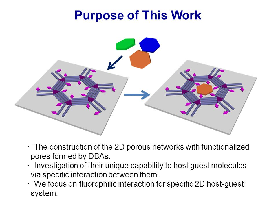 ・ The construction of the 2D porous networks with functionalized pores formed by DBAs.