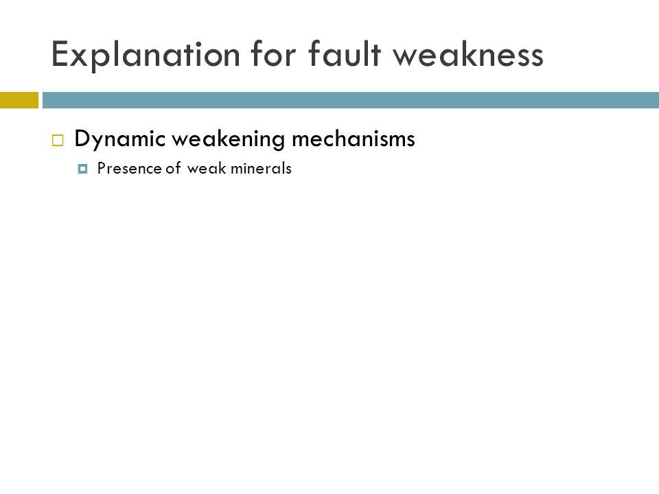 Explanation for fault weakness  Dynamic weakening mechanisms  Presence of weak minerals