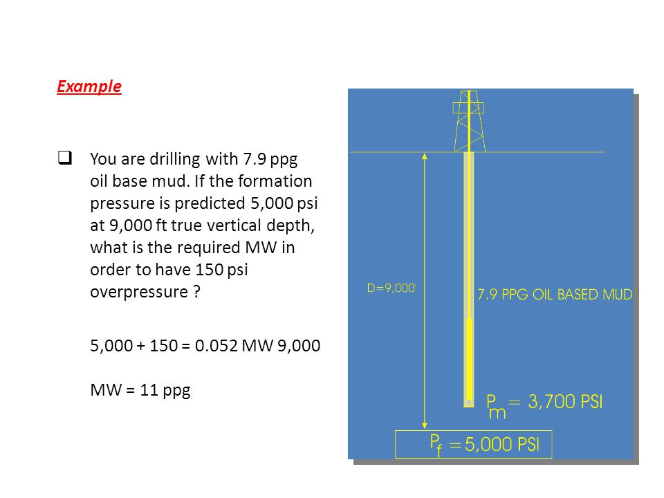 Example  You are drilling with 7.9 ppg oil base mud. If the formation pressure is predicted 5,000 psi at 9,000 ft true vertical depth, what is the re