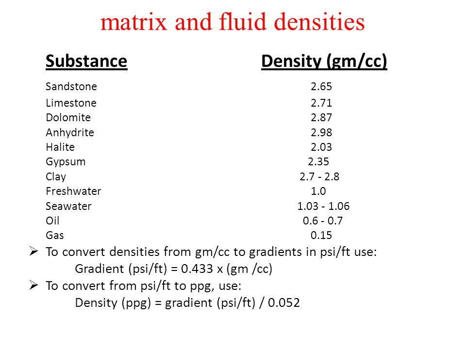 matrix and fluid densities Substance Density (gm/cc) Sandstone 2.65 Limestone 2.71 Dolomite 2.87 Anhydrite 2.98 Halite 2.03 Gypsum 2.35 Clay 2.7 - 2.8
