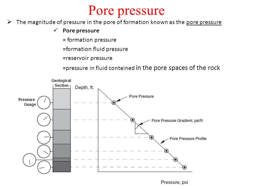 Pore pressure  The magnitude of pressure in the pore of formation known as the pore pressure Pore pressure = formation pressure =formation fluid pres