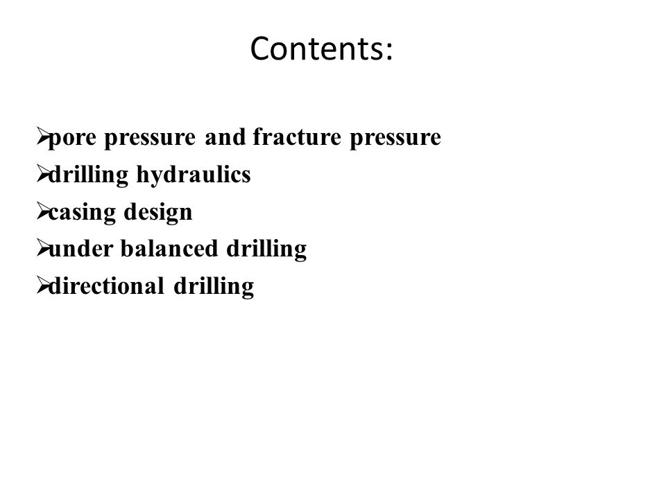 Slide 115 Experimental Determination of Fracture Gradient Example: In a leak-off test below the casing seat at 4,000 ft, leak-off was found to occur when the standpipe pressure was 1,000 psi.