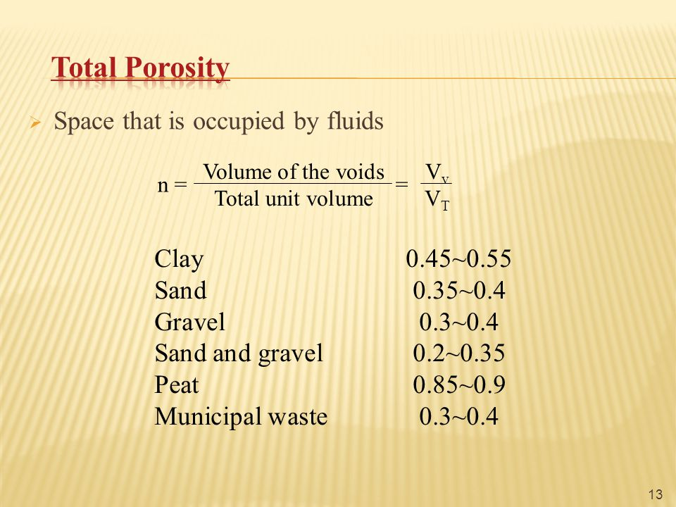  Space that is occupied by fluids n = = Volume of the voidsV v Total unit volumeV T 13 Clay0.45~0.55 Sand0.35~0.4 Gravel0.3~0.4 Sand and gravel0.2~0.35 Peat0.85~0.9 Municipal waste0.3~0.4