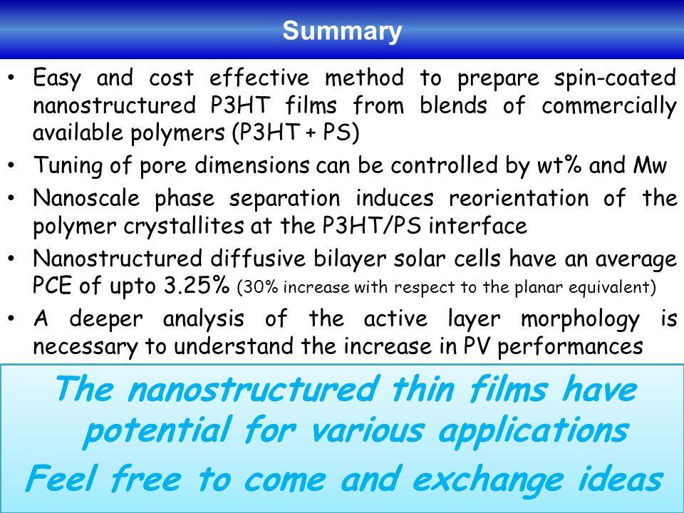 Easy and cost effective method to prepare spin-coated nanostructured P3HT films from blends of commercially available polymers (P3HT + PS) Tuning of pore dimensions can be controlled by wt% and Mw Nanoscale phase separation induces reorientation of the polymer crystallites at the P3HT/PS interface Nanostructured diffusive bilayer solar cells have an average PCE of upto 3.25% (30% increase with respect to the planar equivalent) A deeper analysis of the active layer morphology is necessary to understand the increase in PV performances Summary The nanostructured thin films have potential for various applications Feel free to come and exchange ideas The nanostructured thin films have potential for various applications Feel free to come and exchange ideas