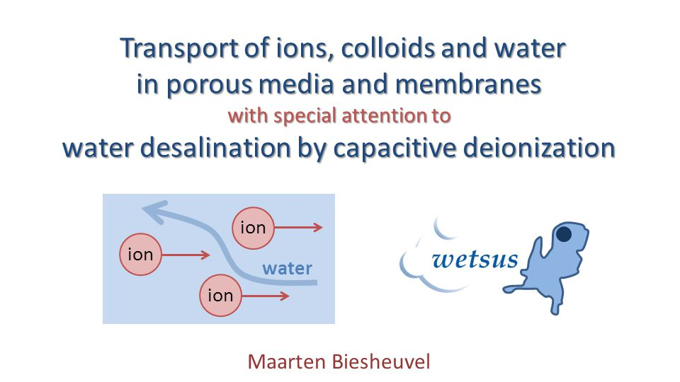 Overview Capacitive Deionization (CDI) Porous electrode theory Modeling ion electrokinetics (combined flow of water, ions, colloids) Sedimentation of colloidal particles 2