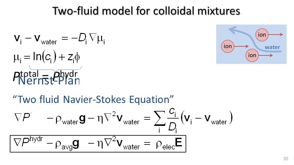P total = P hydr -  osm 30 Two-fluid model for colloidal mixtures Velocities within own phase, interstitial velocity Many interesting things to be said here, how to apply this to a porous medium, via Brinkman-style approach, where this..