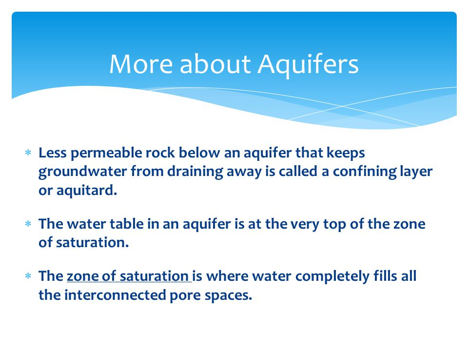  Less permeable rock below an aquifer that keeps groundwater from draining away is called a confining layer or aquitard.  The water table in an aqui