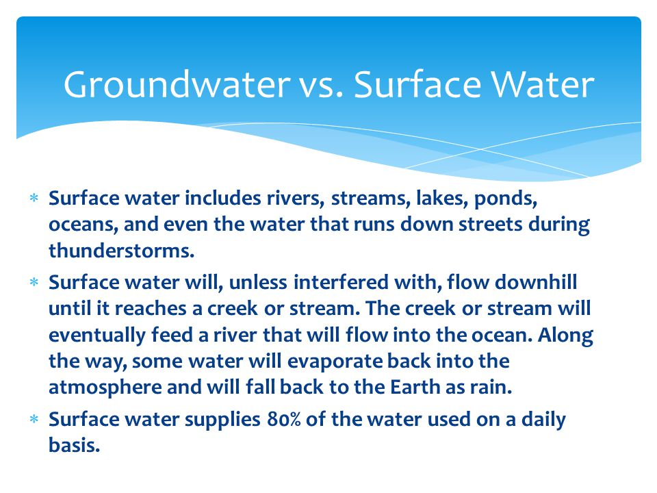  Surface water which has not yet flowed into a creek is called runoff.