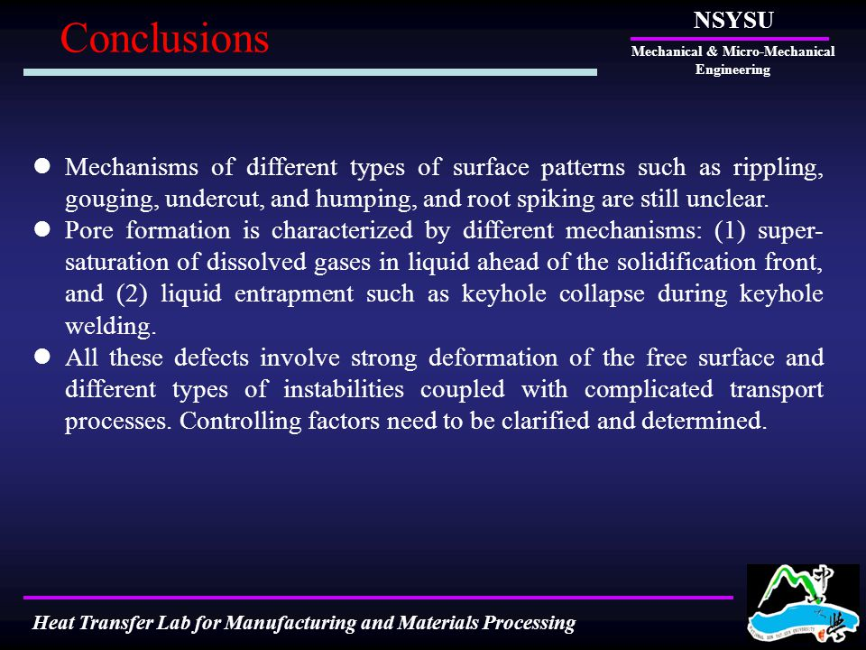 Conclusions NSYSU Mechanical & Micro-Mechanical Engineering Heat Transfer Lab for Manufacturing and Materials Processing Mechanisms of different types