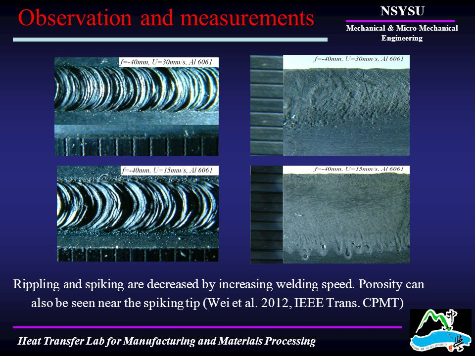 Rippling and spiking are decreased by increasing welding speed. Porosity can also be seen near the spiking tip (Wei et al. 2012, IEEE Trans. CPMT) NSY