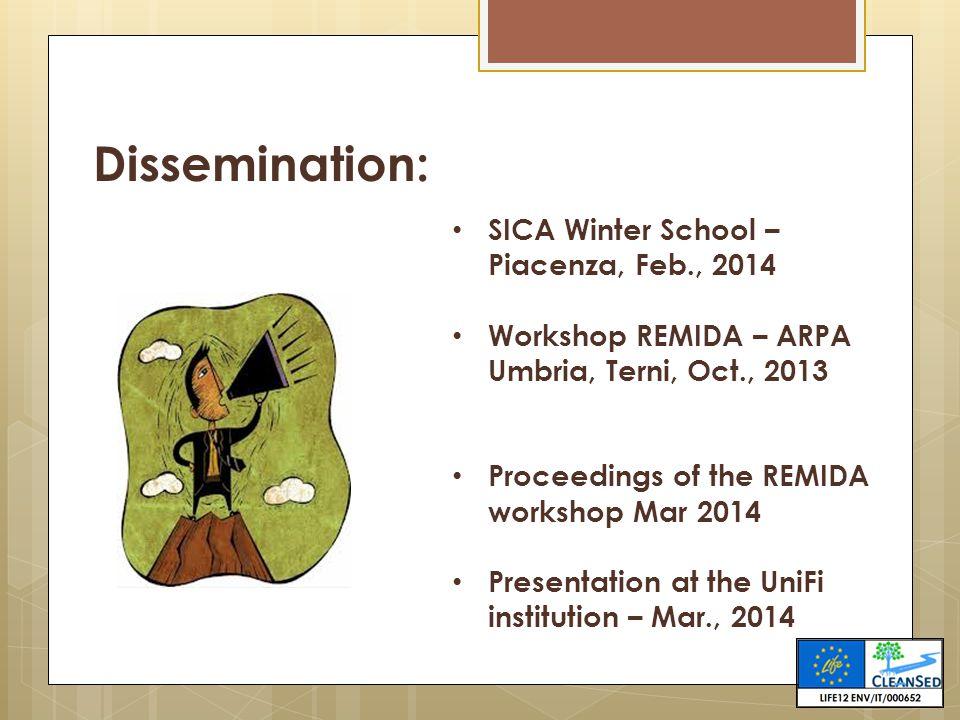 Dissemination: SICA Winter School – Piacenza, Feb., 2014 Workshop REMIDA – ARPA Umbria, Terni, Oct., 2013 Proceedings of the REMIDA workshop Mar 2014 Presentation at the UniFi institution – Mar., 2014