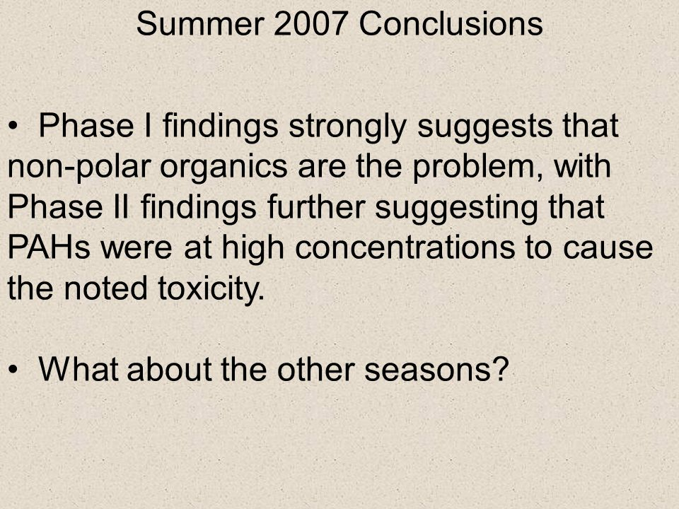Summer 2007 Conclusions Phase I findings strongly suggests that non-polar organics are the problem, with Phase II findings further suggesting that PAH