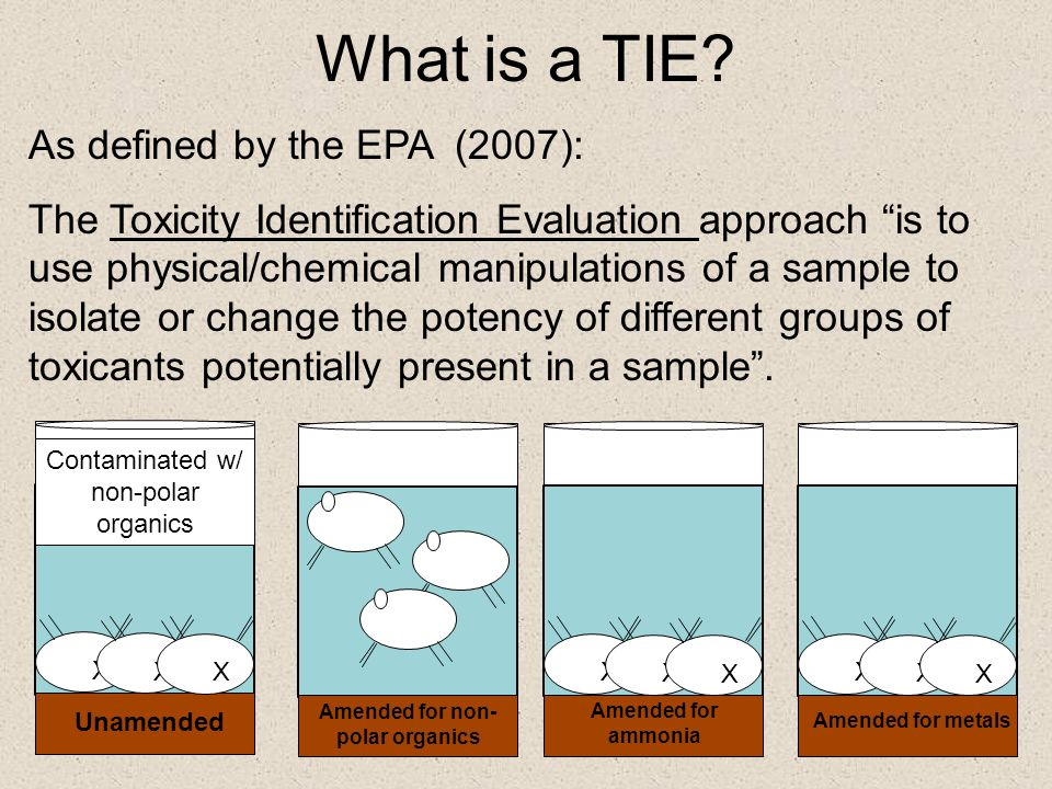 """What is a TIE? As defined by the EPA (2007): The Toxicity Identification Evaluation approach """"is to use physical/chemical manipulations of a sample to"""