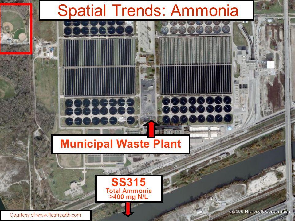 SS315 Total Ammonia >400 mg N/L Municipal Waste Plant Courtesy of www.flashearth.com Spatial Trends: Ammonia