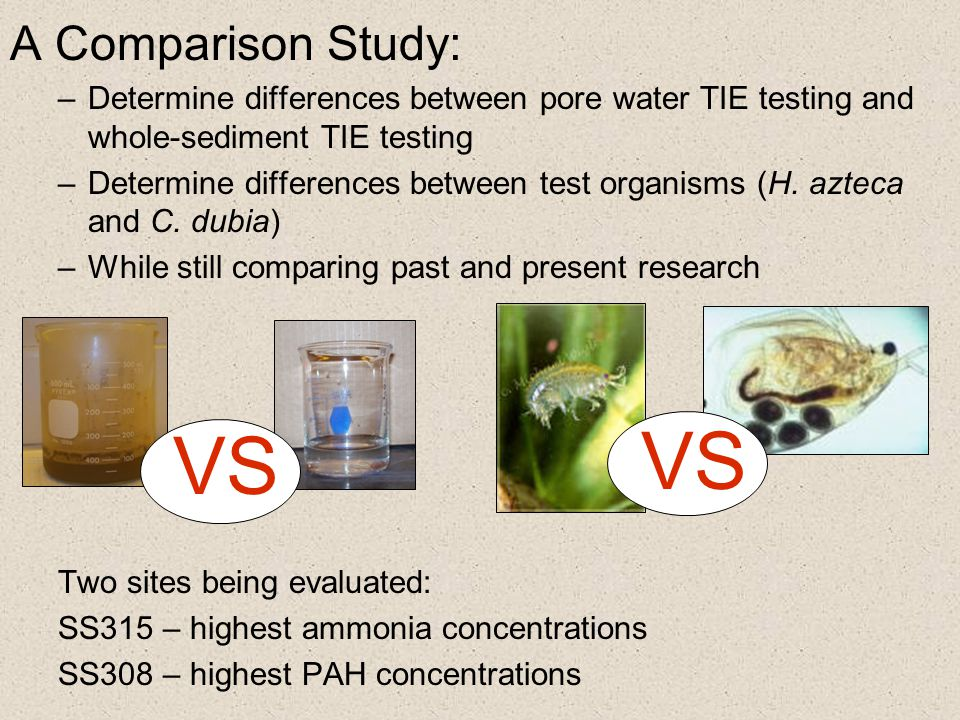 A Comparison Study: –Determine differences between pore water TIE testing and whole-sediment TIE testing –Determine differences between test organisms