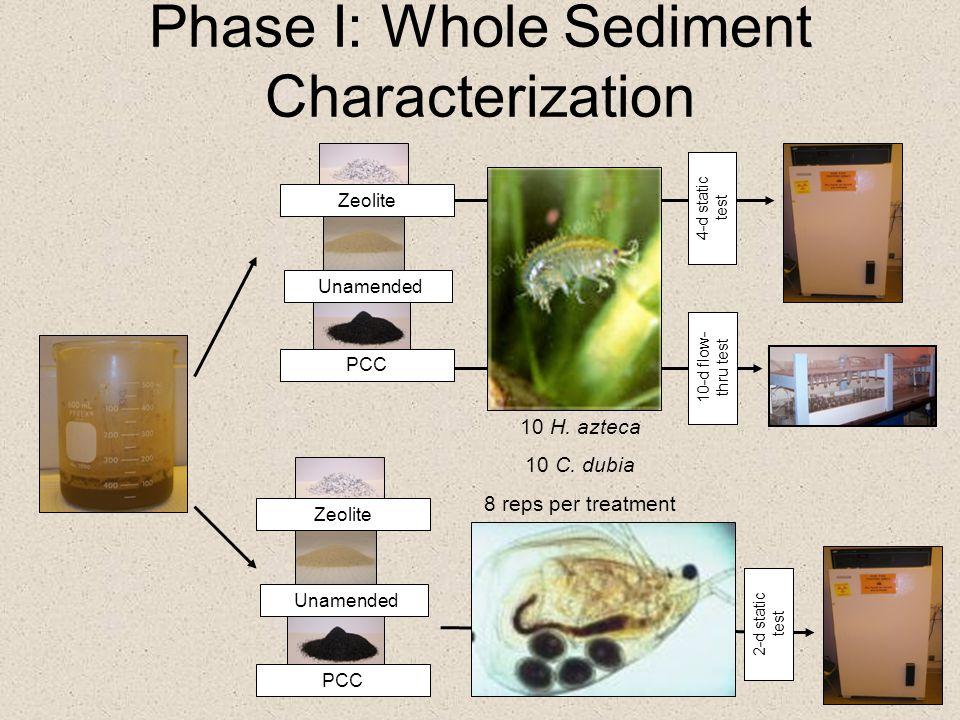 Phase I: Whole Sediment Characterization Zeolite Unamended 10 H. azteca 10 C. dubia 8 reps per treatment 4-d static test PCC 10-d flow- thru test 2-d