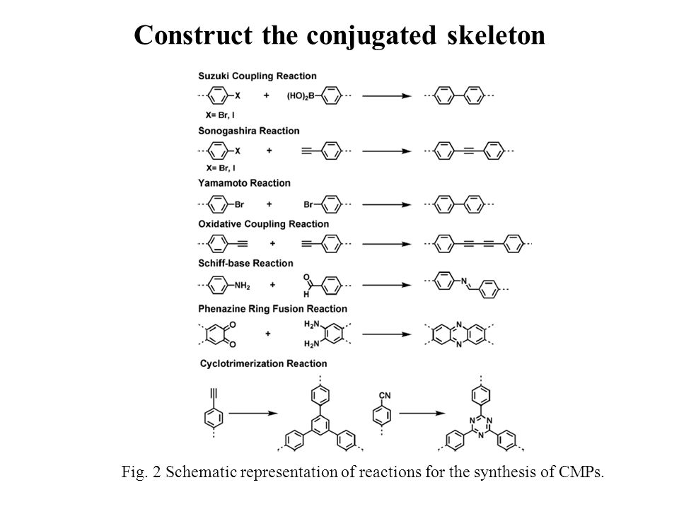 Fig. 2 Schematic representation of reactions for the synthesis of CMPs. Construct the conjugated skeleton
