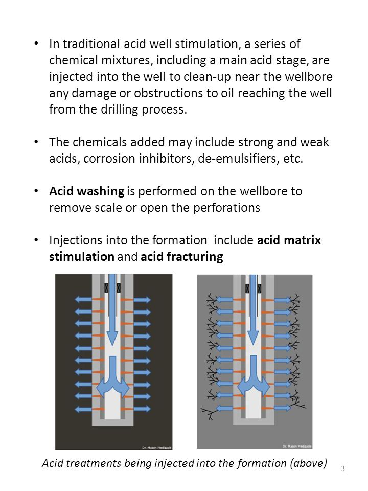 3 In traditional acid well stimulation, a series of chemical mixtures, including a main acid stage, are injected into the well to clean-up near the we