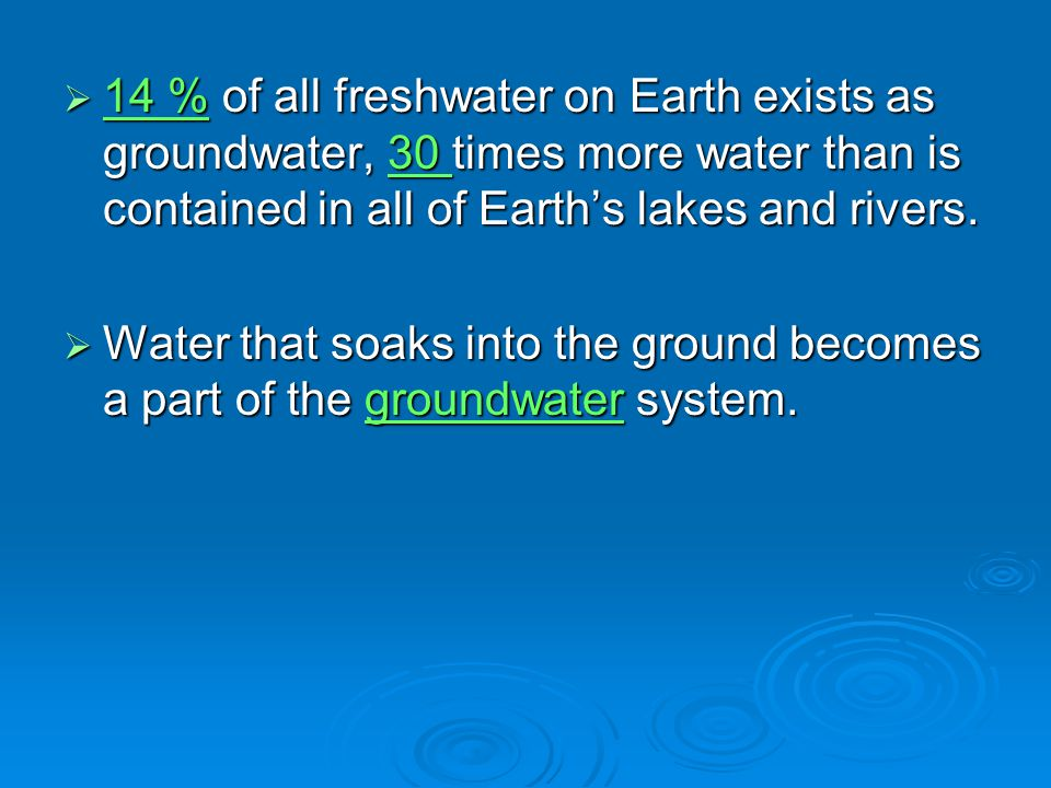  14 % of all freshwater on Earth exists as groundwater, 30 times more water than is contained in all of Earth's lakes and rivers.  Water that soaks