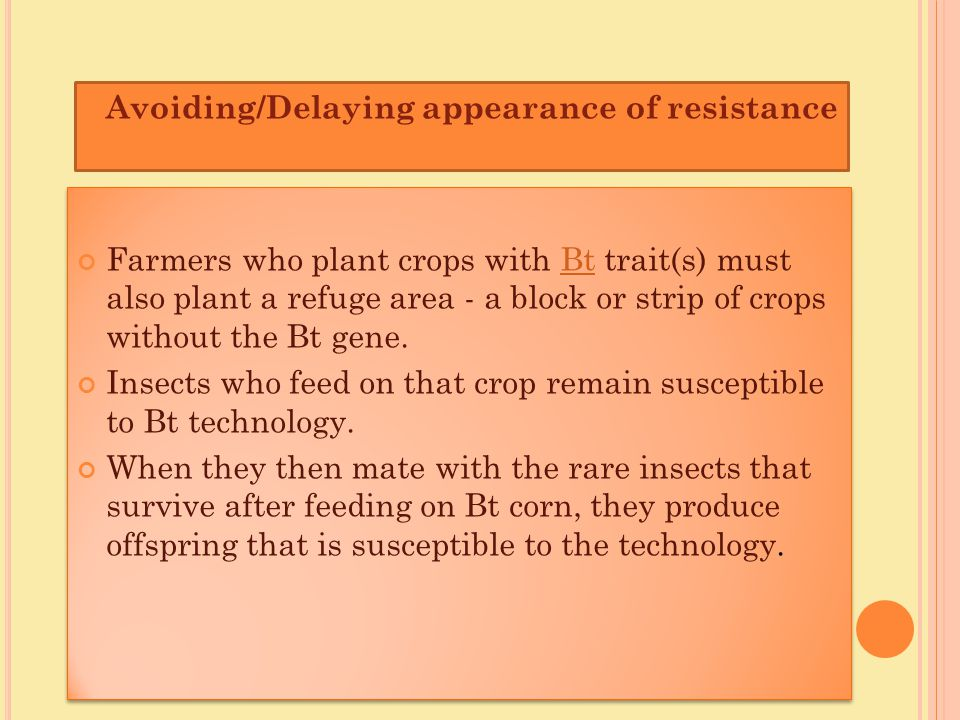 Farmers who plant crops with Bt trait(s) must also plant a refuge area - a block or strip of crops without the Bt gene.Bt Insects who feed on that cro