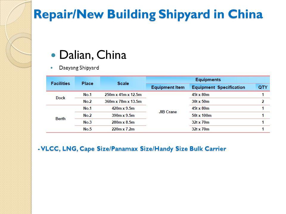 Dalian, China Daeyang Shipyard - VLCC, LNG, Cape Size/Panamax Size/Handy Size Bulk Carrier Repair/New Building Shipyard in China