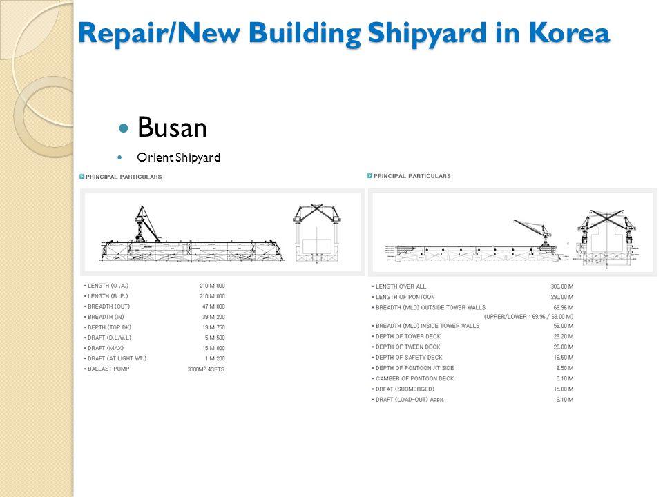 Busan Orient Shipyard Repair/New Building Shipyard in Korea