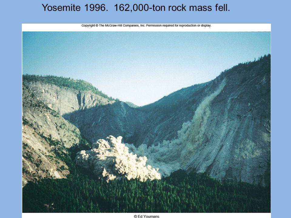 Yosemite 1996. 162,000-ton rock mass fell.