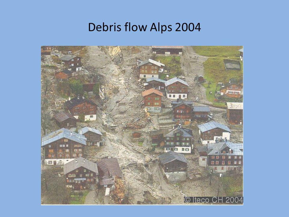 Debris flow Alps 2004