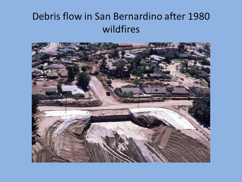 Debris flow in San Bernardino after 1980 wildfires